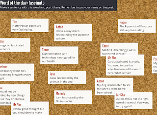 example of collaborative notes on padlet for vocabulary