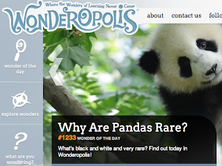 Screenshot from the Wonderopolis website